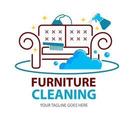 Furniture dry cleaning logo flat concept. Sofa professional washing, laundry service. Furnishing delicate cleaning, stain removing equipment.