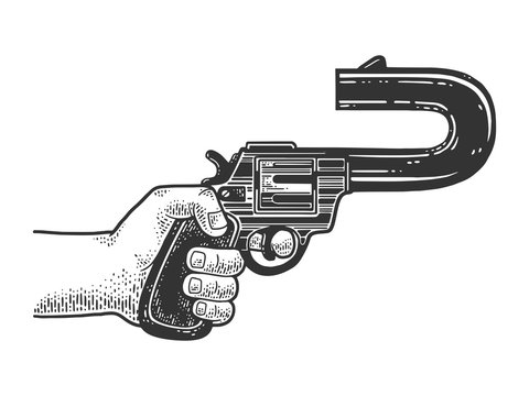 absurd revolver with a curved barrel pointing back sketch engraving vector illustration. T-shirt apparel print design. Scratch board imitation. Black and white hand drawn image.
