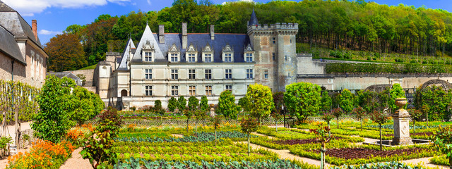 Most beautiful castles of Europe - chateau Villandry with splendid botanical gardens . Loire valley, France
