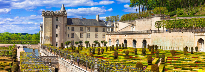 Most beautiful castles of Europe - Villandry with splendid floral gardens . Loire valley, France