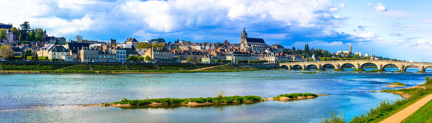 Landmarks and travel in France. Famous Loire valley, view of medieval town Blois and royal castle