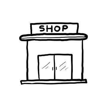 hand drawn Set of store icon line design. Store vector illustration doodle