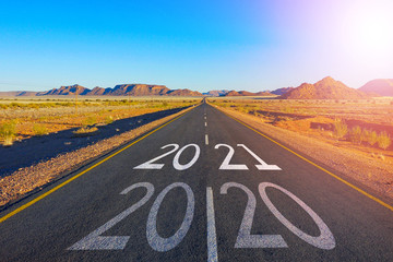 Papiers peints Route 66 Concept for new year 2021.The word 2020 written on American highway road in the middle of empty asphalt road in California.
