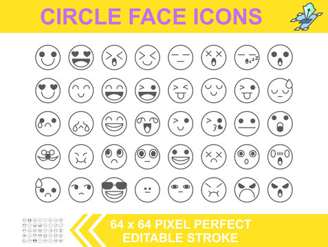 40  Smiley Circle faces an emotional expression icon. Editable stroke. 64 x 64 pixel perfect. Vector illustrator flat design.