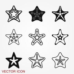Sea star icon. Starfish vector sign. Sea animal symbol isolated on background.