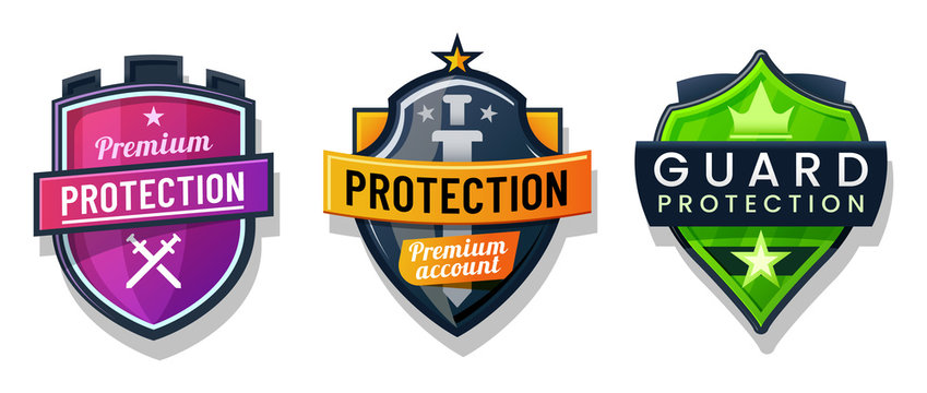 Shield protection icons, security safety signs set
