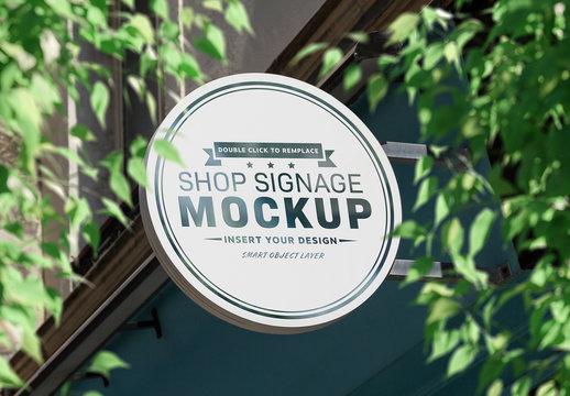 Circular Storefront Sign Mockup