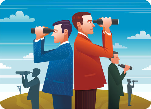Business people stand on top of the hill using .binoculars looking for success, opportunities, future business trends.