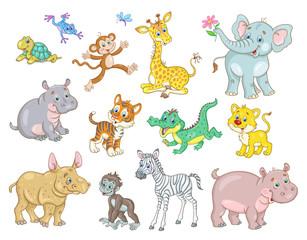 Set of african cute animal babies - giraffe, zebra, crocodile, lion, elephant, hippo, monkey, tiger  rhinoceros, gorilla, turtle and frog. In cartoon style. Isolated on white. Vector illustration