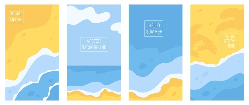 Vertical banners and background for social media stories with copy space for text. Summer sunny landscape with beach, sea, ocean and seaside waves. Summer vacation or tourist agency background.