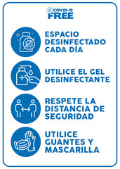 Covid-19 free zone poster writting in spanish.. Signs for shops, stores, hairdressers, establishments, bars, restaurants ...