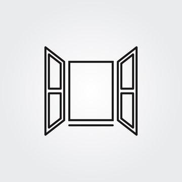 Opened window icon. Vector