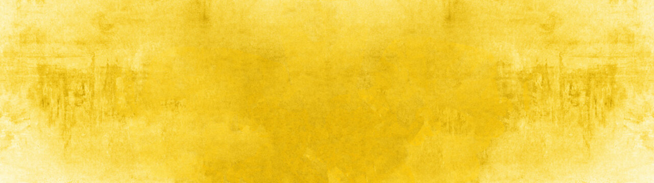 Abstract yellow watercolor painted paper texture background banner, trend color 2020