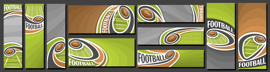 Vector set of American Football Banners, vertical and horizontal art templates for american football events with illustration of sport field and flying on curve trajectory ball on brown background.
