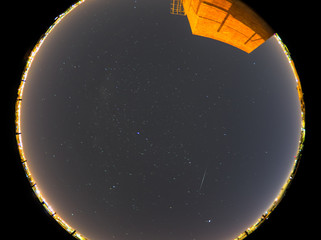 View of star trails and a meteor from the Eta Aquarids meteor shower of 2020 as seen from Cordoba,...
