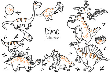 Set of cute cartoon dinosaurs. Vector illustration in doodle hand drawn style for printing on fabric, Wallpaper, dishes, postcard, picture, bedding, children's products
