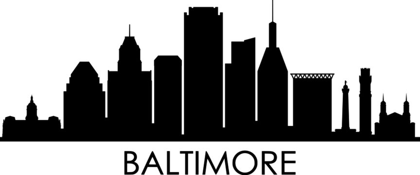 BALTIMORE City Maryland Skyline Silhouette Cityscape Vector