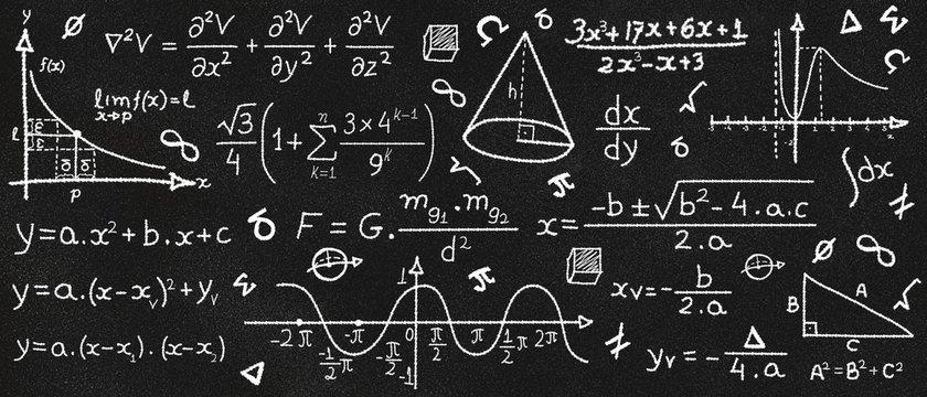 Math formulas on a textured chalkboard. Black background. Education concept