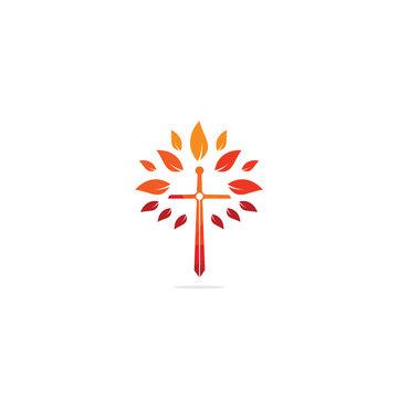 Church logo. Christian church cross praying tree logo. Christian Sword Church Cross logo design