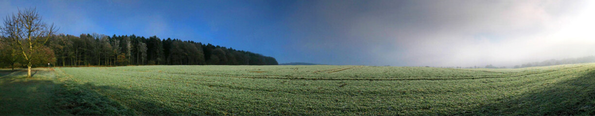 Panoramic View Of Agricultural Landscape Against Sky Fototapete