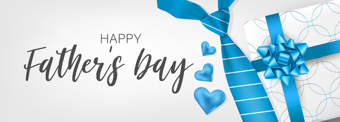Happy Father's Day banner or header. Blue tie and gift box. Vector illustration.
