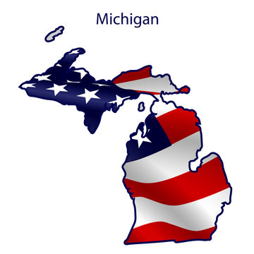 Michigan full of American flag waving in the wind. The outline of the state
