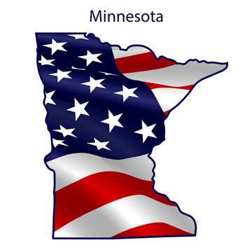 Minnesota full of American flag waving in the wind. The outline of the state