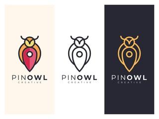 Fotobehang Uilen cartoon Unique owl map logo illustration in 3 versions