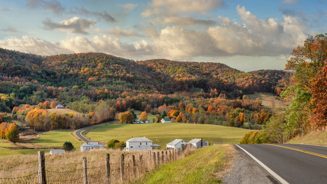 Rural Virginia Farm town in Autumn in the valleys and hills of the Appalachian Mountains