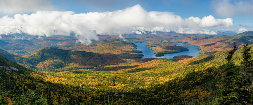 Autumn view of Lake Placid from Whiteface Mountain  - Adirondack New York
