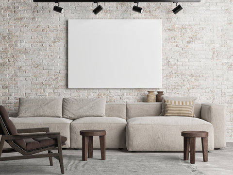 Mockup poster on the brick wall, Scandinavian Living room design, the poster on background, 3d render, 3d illustration