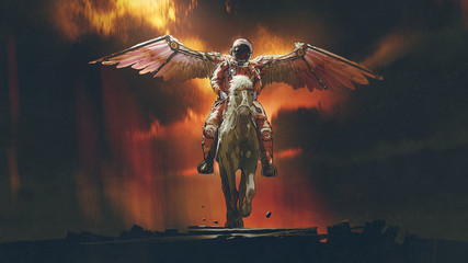 Foto auf AluDibond Grandfailure sci-fi concept of the astronaut with wings riding a horse on dark background, digital art style, illustration painting