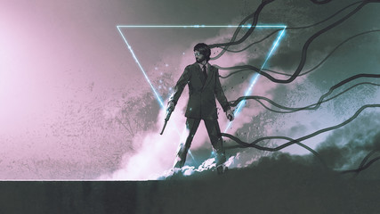 Foto op Aluminium Grandfailure man with the gun standing against smoke background with mysterious glowing triangle, digital art style, illustration painting