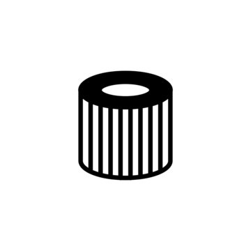 car oil filter icon in black flat design on white background