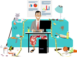 Man attending a work video conference in business jacket and swim shorts, in a messy room on a couch, yellow tape sets work place boundaries, EPS 8 vector illustration