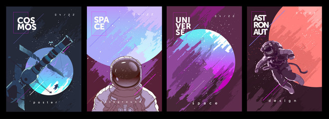 Fototapeta A set of vector illustrations. Posters and backgrounds about the space and the universe. Space odyssey, space, astronaut, planets. obraz