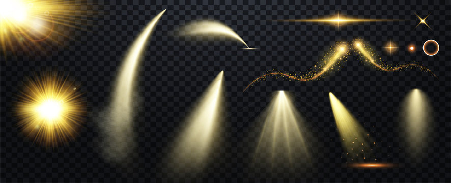 Set of Spotlight isolated on transparent background. Vector glowing light effect with gold rays and beams.  Bright gold flashes and glares. Bright rays of light. Glowing lines. Vector illustration.