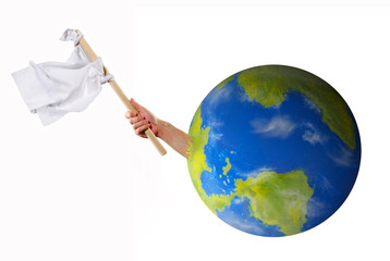 Hand holding white flag asking help surrender from planet earth concept.World crisis concept.