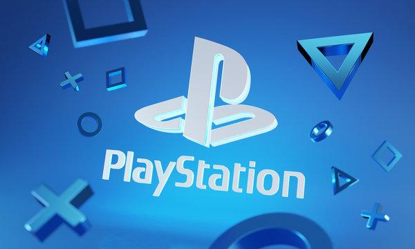 Playstation Logo Glow on Blue Background Around 3D Console Joystick Button Symbol