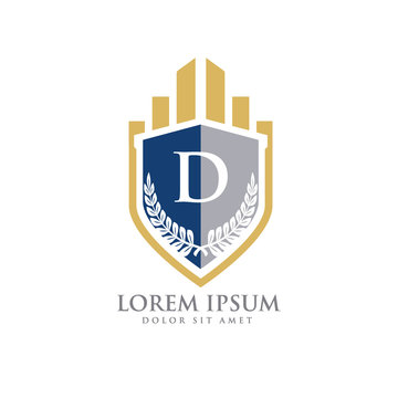 D Initial law firm with shield logo vector template