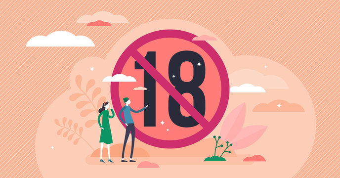 Under 18 vector illustration. Age restriction flat tiny persons concept.
