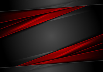 Fotobehang - High contrast red and black glossy stripes. Abstract tech vector corporate background