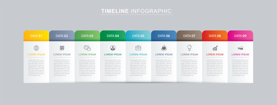 9 data infographics tab paper index template. Vector illustration abstract background. Can be used for workflow layout, business step, banner, web design.
