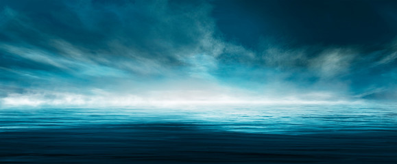 Foto auf AluDibond Blau türkis Night seascape. Dark landscape with a marine background and sunset, moon. Abstract night landscape in blue light. Reflection of the moon in the night water. Empty futuristic landscape.