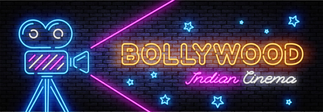 Bollywood indian cinema Neon sign Vector. Movie neon banner, design template, modern trend design, night signboard, night bright advertising, light banner, light art. Vector illustration