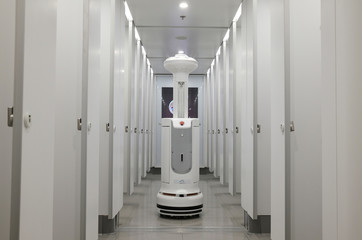 An Intelligent Sterilization Robot (ISR), produced by TMiRob of China, uses UV light to sanitize, at a toilet, following the coronavirus disease (COVID-19) outbreak, at the Hong Kong International Airport, in Hong Kong