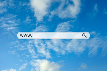 Search bar and blue sky on background
