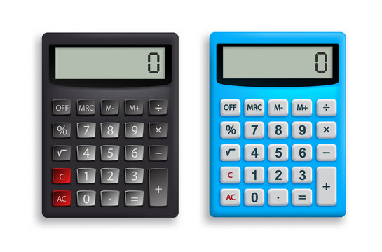 Calculator vector set. Office calculator in black and blue colors with top view 3D realistic look for design elements. Vector illustration.