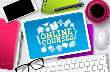 Online courses e-learning vector banner. E-learning online courses text in tablet screen with school elements for digital education through internet. Vector illustration.  Wall mural
