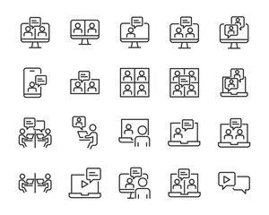 set of online meeting icons, work form home, social distancing, video conference, content creator